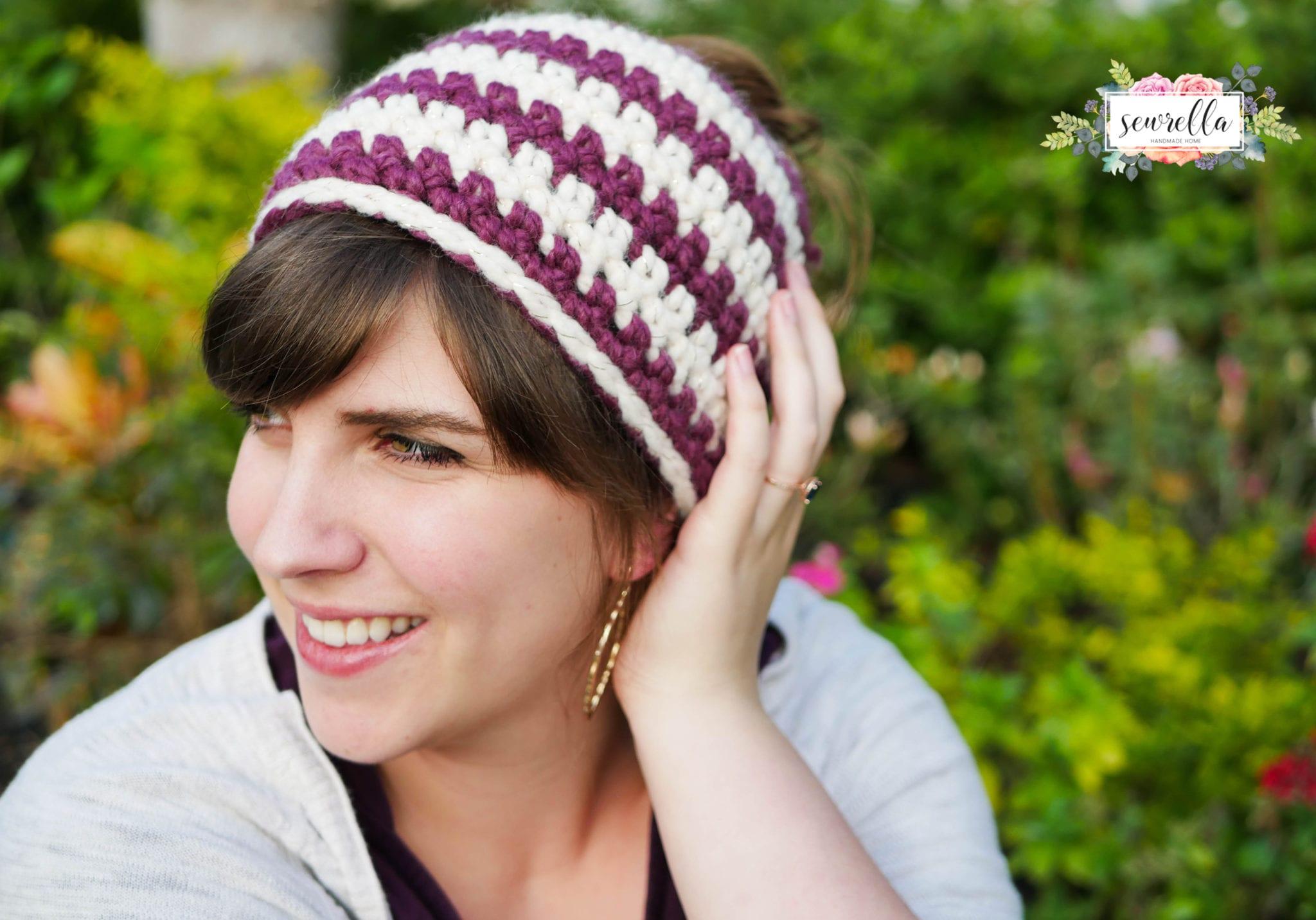 Crochet 1 hour Messy Bun Beanie - Sewrella 4097e92a04b