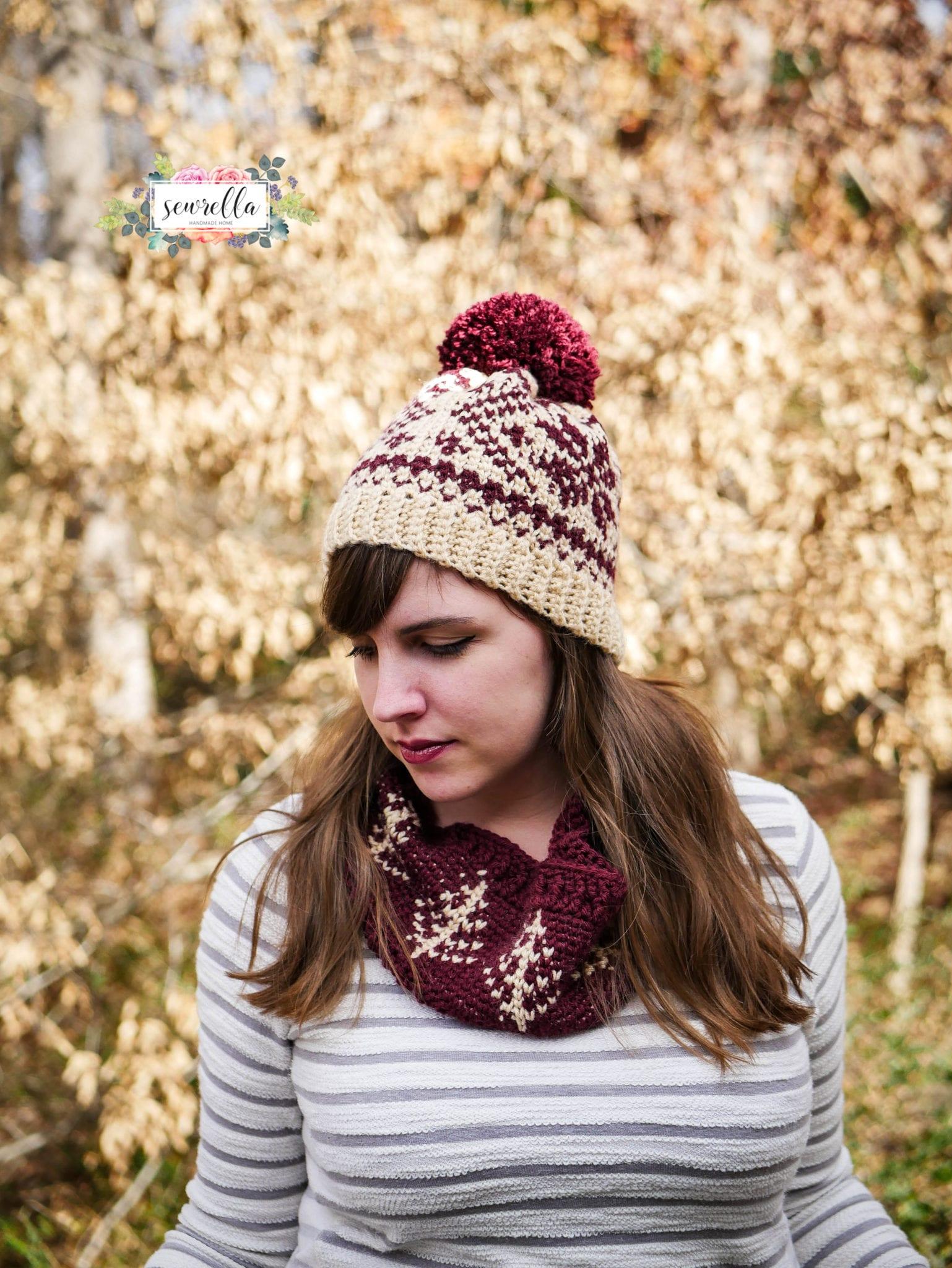 Faux Knit Fair Isle Crochet Toque   Cowl - Sewrella 39705f36204a