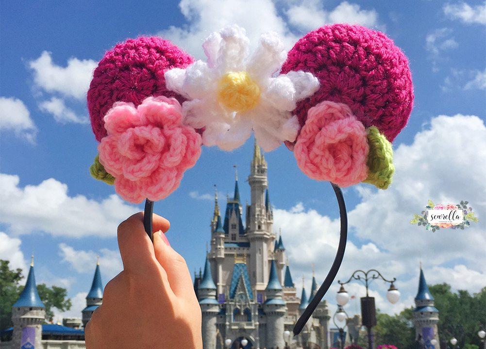 Crochet Floral Mouse Ears Sewrella