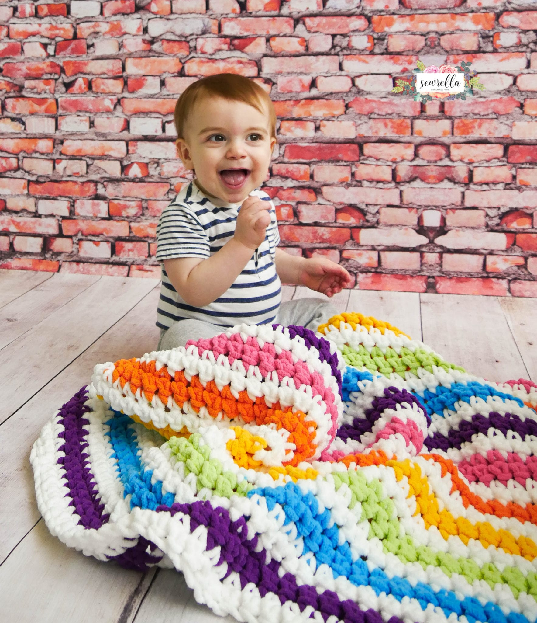 Crochet Rainbow Stripes Baby Blanket Sewrella