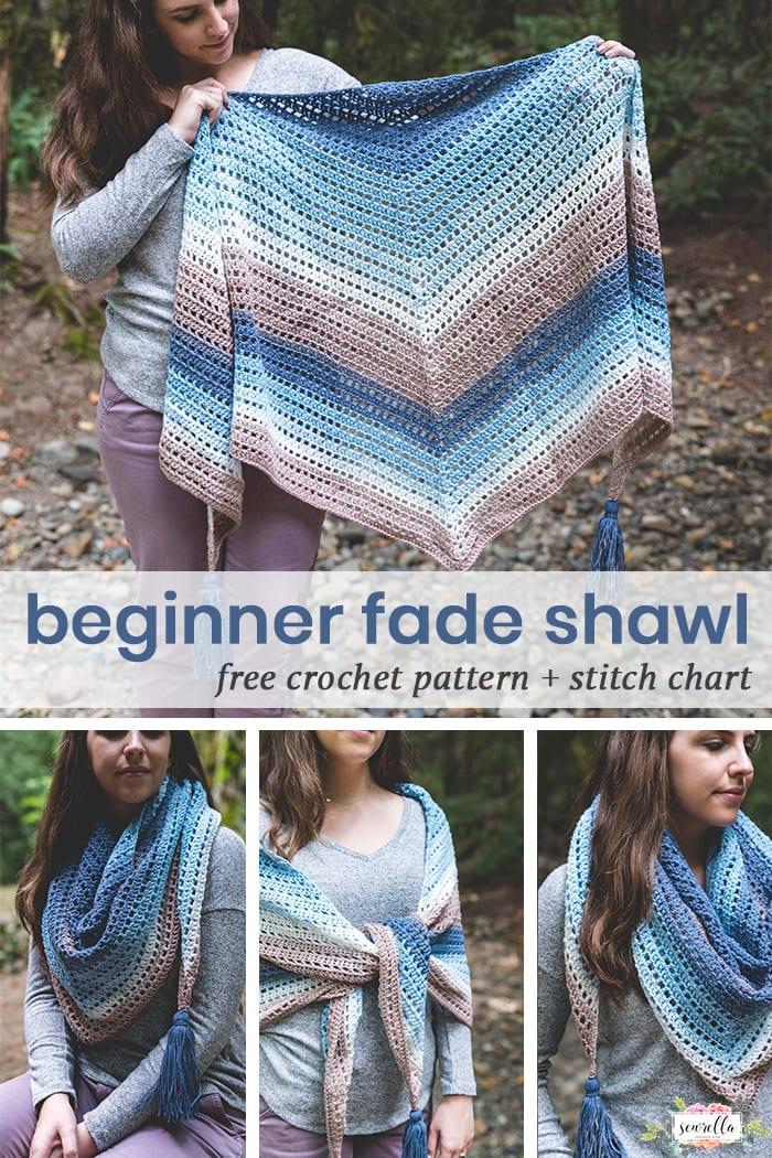 Crochet Beginner Fade Shawl Free Crochet Pattern Sewrella