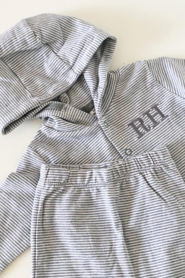 Personalised Striped Hooded Top And Leggings Set – www.sewsian.com