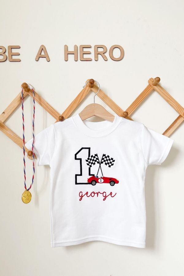 Outlet Personalised Race Car Birthday T-Shirt – www.sewsian.com