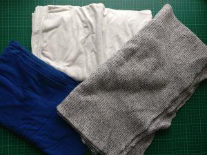 3 Different polyester / viscose / elastane knit fabrics