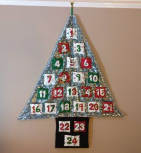 Fabric Christmas Tree Advent Calendar Filled with Chocolates
