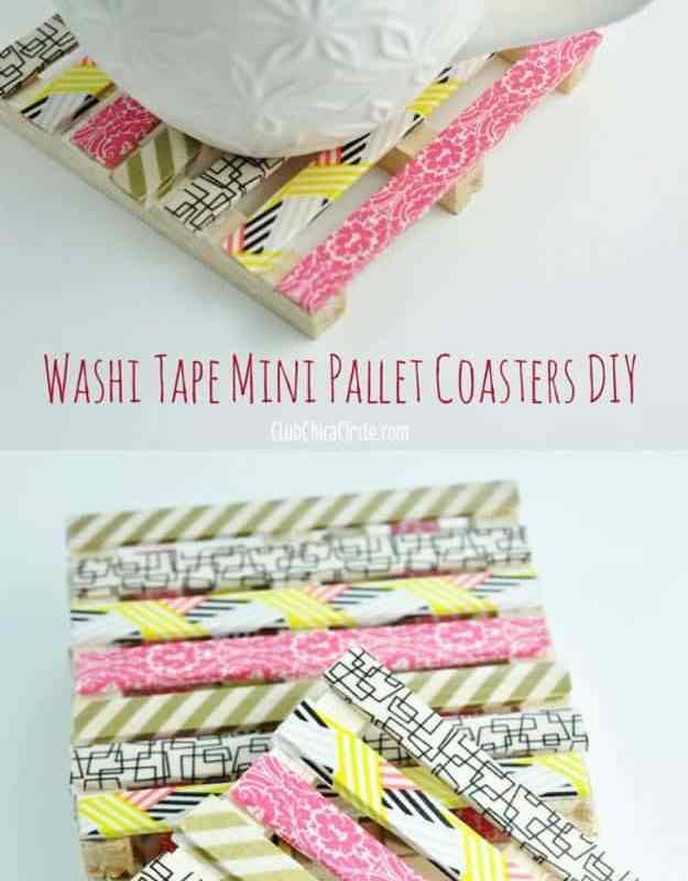 Washi tape mini wood pallet DIY coasters