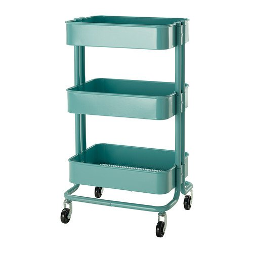 seafoam green metal storage cart with three shelves ande wheels