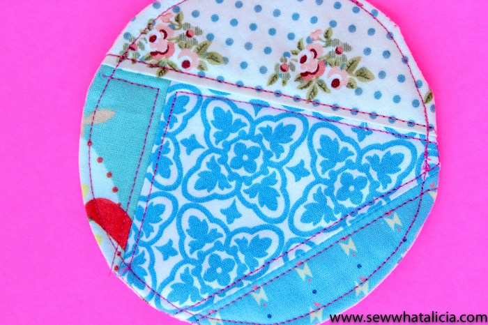 Quilted Coaster Pattern: Pictured: Quilted circle coaster. This easy sewing project is also a free sewing project that you can use as a great scrap buster. Don't miss the video tutorial. Click for the free pattern and video walkthrough. | www.sewwhatalicia.com