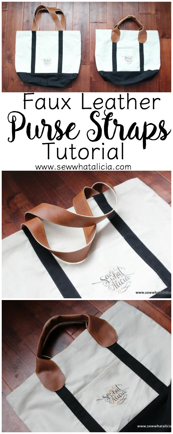 Faux Leather Purse Straps Two Ways Tutorial| Looking to spice up your existing purse or just need help creating the straps for a purse you are making. This is the tutorial for you. We use faux leather to teach you two techniques for purse strap construction. Click through for the full tutorial. www.sewwhatalicia.com