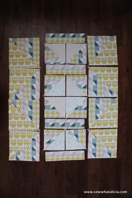 Half Square Triangle Quilt Pattern - Scandinavian Heartland | This half square triangle quilt pattern is quick and easy. It is great for beginners who are hesitant to start quilting! Click through for the full tutorial! www.sewwhatalicia.com