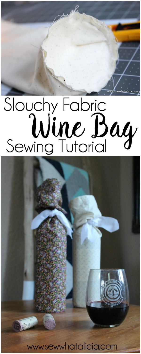 Slouchy Fabric Wine Gift Bag Tutorial: With the party season upon us you are going to be looking for something wonderful to give to your host/hostess when you go to their house! These wine bags are quick and easy to make and they are a great way to give a handmade gift that any host(less) will love! Click through for the full tutorial. | www.sewwhatalicia.com