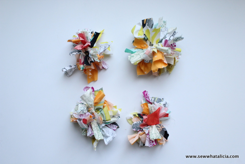 How to Use Your Fabric Scraps to Create a Pom Pom : This is a fun no sew tutorial for using up all your fabric scraps. These pom poms are adorable. Click through for the full tutorial plus a video walk through! | www.sewwhatalicia.com
