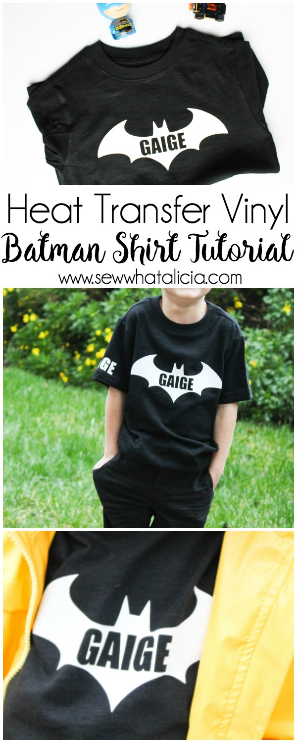 Heat Transfer Vinyl Batman Shirt Tutorial: This quick tutorial is perfect for making customized shirts for the batman fan in your life. Click through for the full tutorial. | www.sewwhatalicia.com