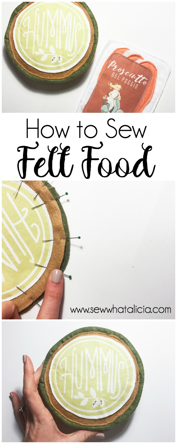 How to Sew Adorable Felt Food: This tutorial is perfect for learning to sew felt food for your little ones! The felt food also makes a great gift! Click through for the full tutorial including making adorable freezer paper food labels! | www.sewwhatalicia.com