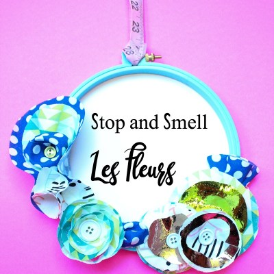 No Sew Floral Wreath Embroidery Hoop