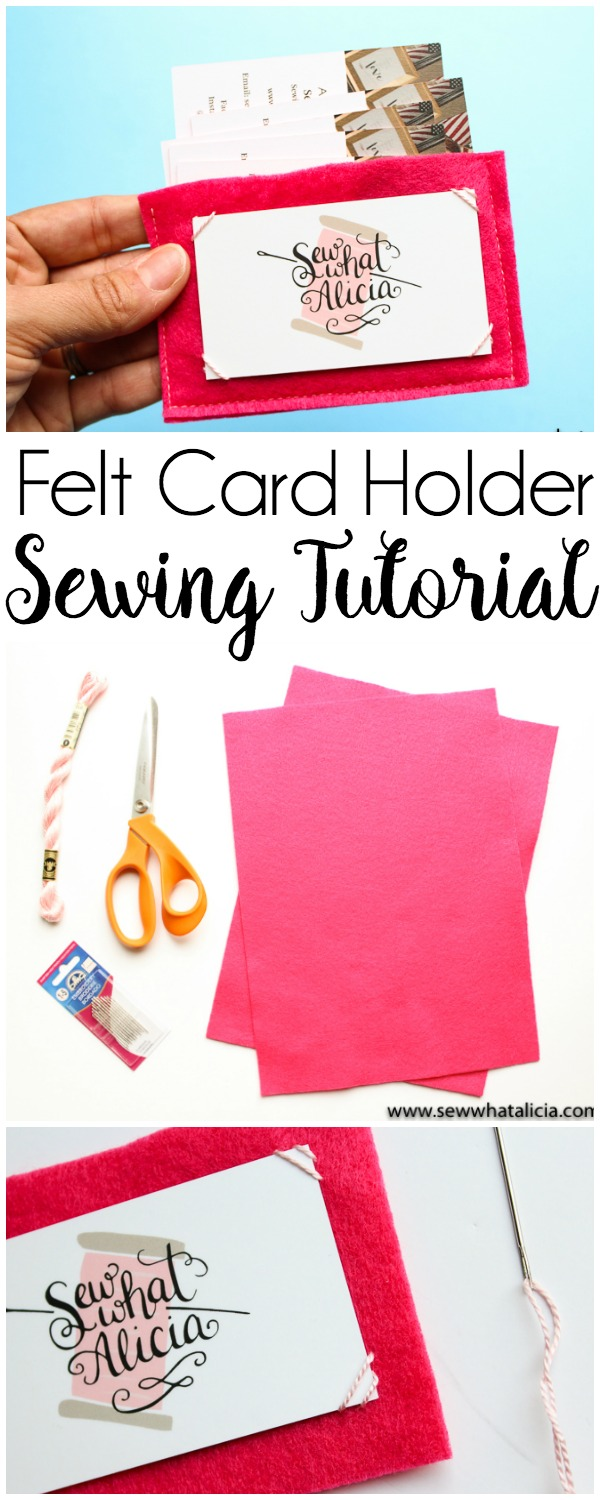 Felt Business Card Holder Tutorial: This felt business card holder is perfect for storing all your important business cards. Store your own or store all the ones you collect. Or use it for gift cards! Click through for the full tutorial. | www.sewwhatalicia.com