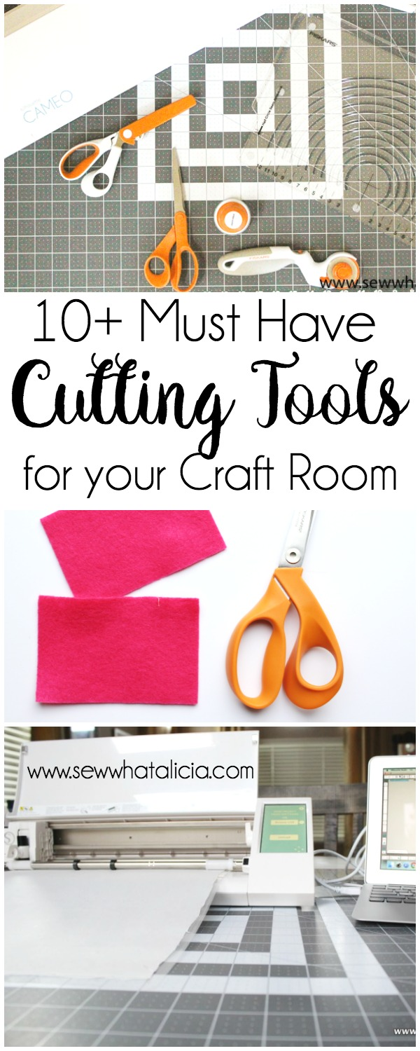 10+ Must Have Cutting Supplies for your Craft Room: Having the right cutting tools is super important for having a great finished product. Check out these amazing cutting tools that I use in my sewing room. Click through for the full list. | www.sewwhatalicia.com