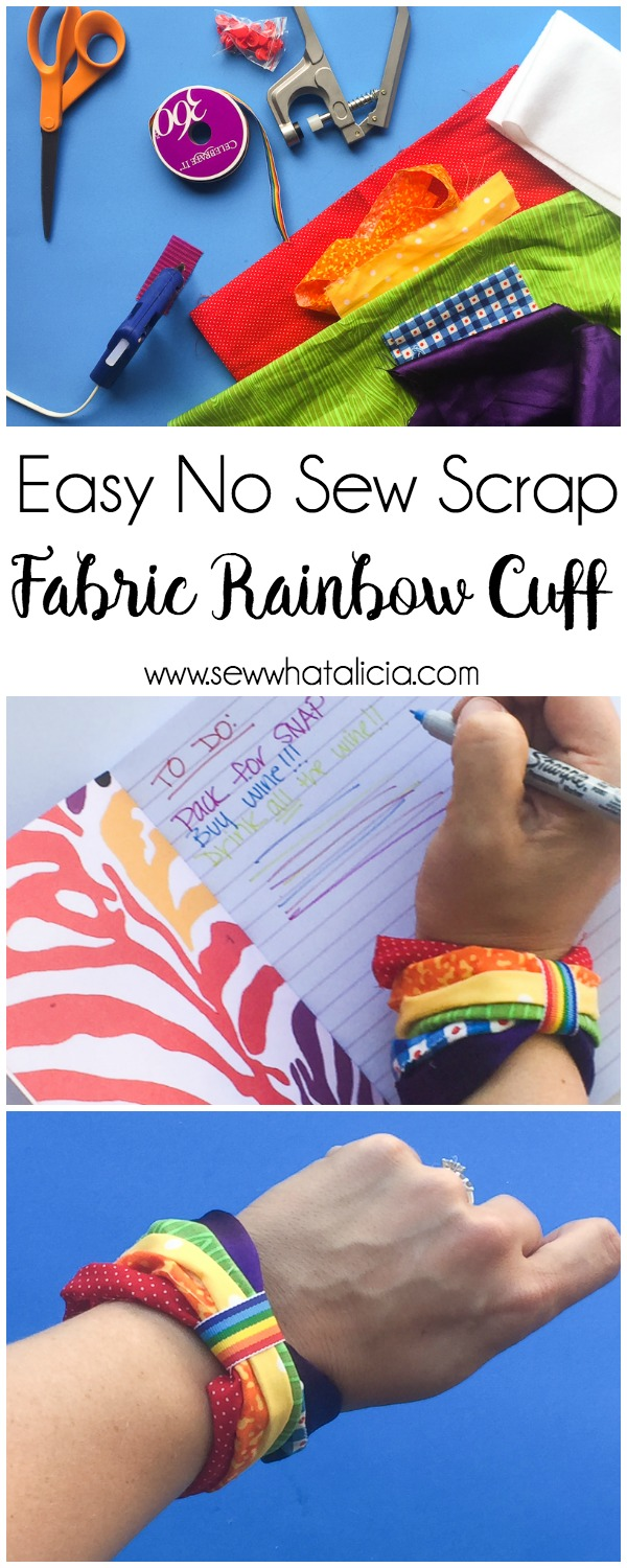 Easy No Sew Scrap Fabric Rainbow Bracelet : This is a great scrap buster project. You just need a few supplies. Click through for the full tutorial and a video for you visual learners! | www.sewwhatalicia.com