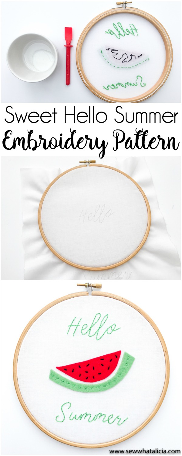 Hello Summer Sweet Embroidery Pattern and Tutorial: Head over for a great intro to embroidery tutorial. This project is perfect for beginners. Click through for the full walkthrough. | www.sewwhatalicia.com