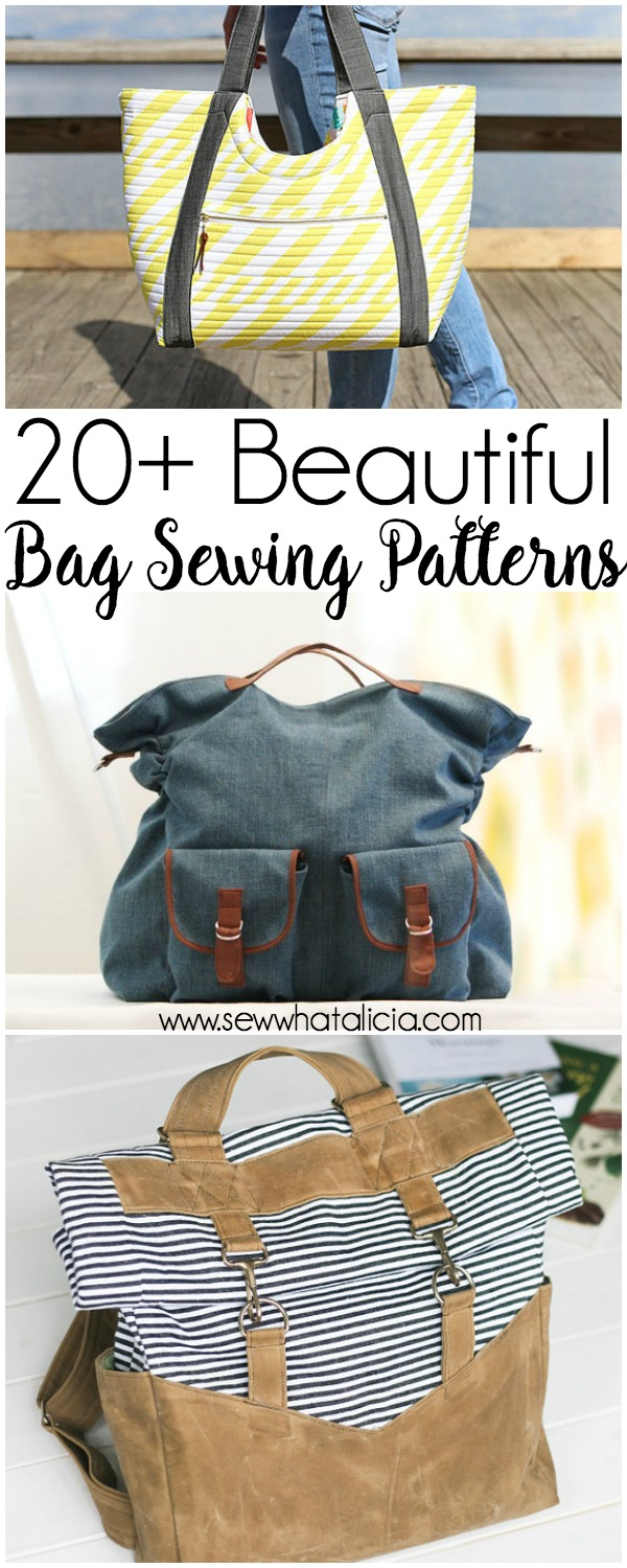20+ Beautiful Tote and Bag Patterns to Sew: This is an amazing collection of bag patterns that are perfect for sewing. Add these to your collection to make the best bags around. Click through for the full list of sewing pdf patterns. | www.sewwhatalicia.com