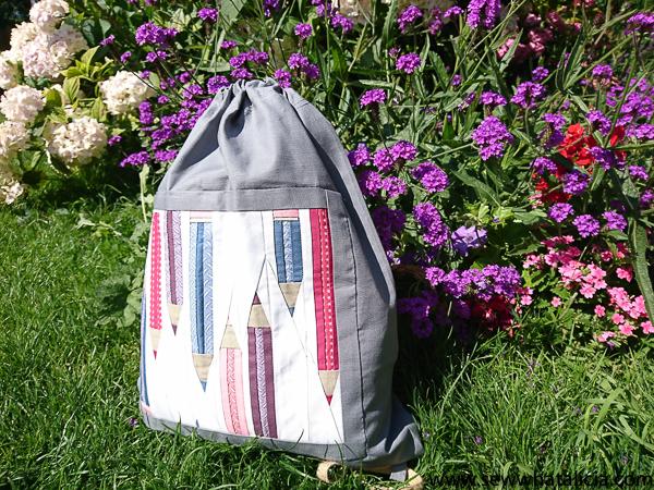 Drawstring Backpack Sewing Tutorial – Pencil Paper Piecing