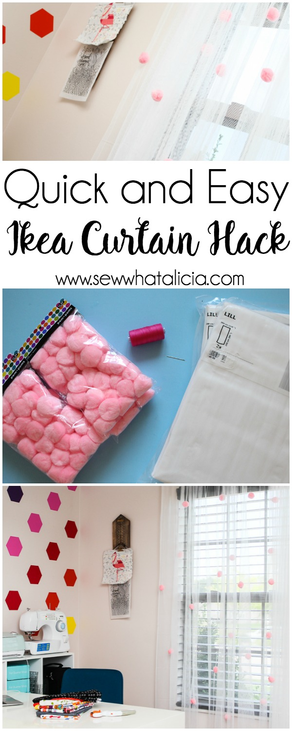 Quick and Easy Ikea Curtain Hack: This quick curtain hack is perfect for adding a touch of fun to your craft room or to your little girl's room! Click through for the full tutorial.| www.sewwhatalicia.com
