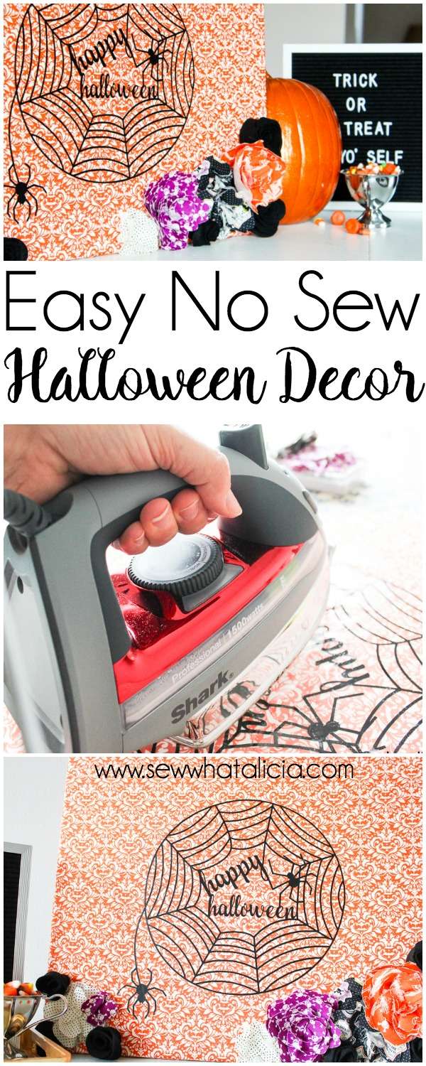 Easy No Sew Halloween Decor: This easy no sew fabric halloween decor is perfect for adding a fun touch to your decorating. Click through for the full tutorial.   www.sewwhatalicia.com