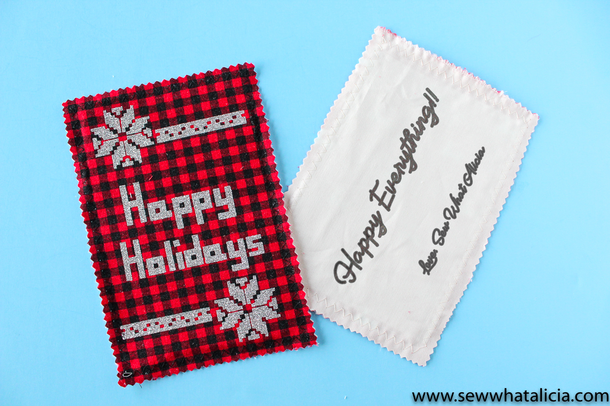 Handmade Christmas Fabric Postcards: Head over to learn to sew these adorable fabric postcards. Don't forget to grab the SVG bundle to create even more cards and tags this holiday season. | www.sewwhatalicia.com