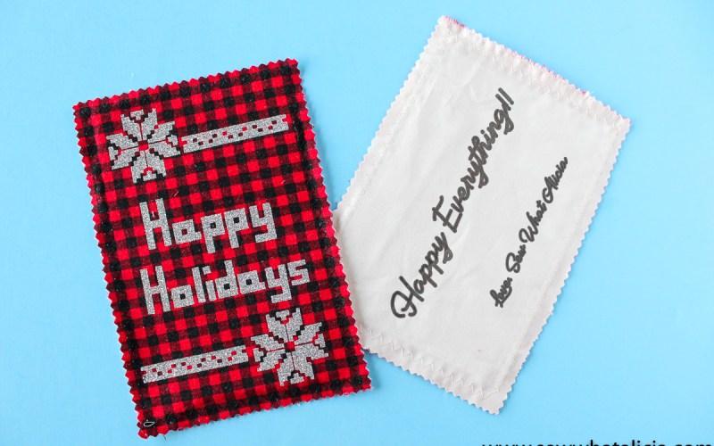 Handmade Christmas Fabric Postcards