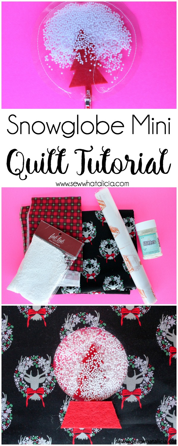 Snowglobe Mini Quilt Sewing Tutorial: This fun and whimsical mini quilt is unique and simple to make. Click through for a full tutorial plus a video walkthrough.   www.sewwhatalicia.com