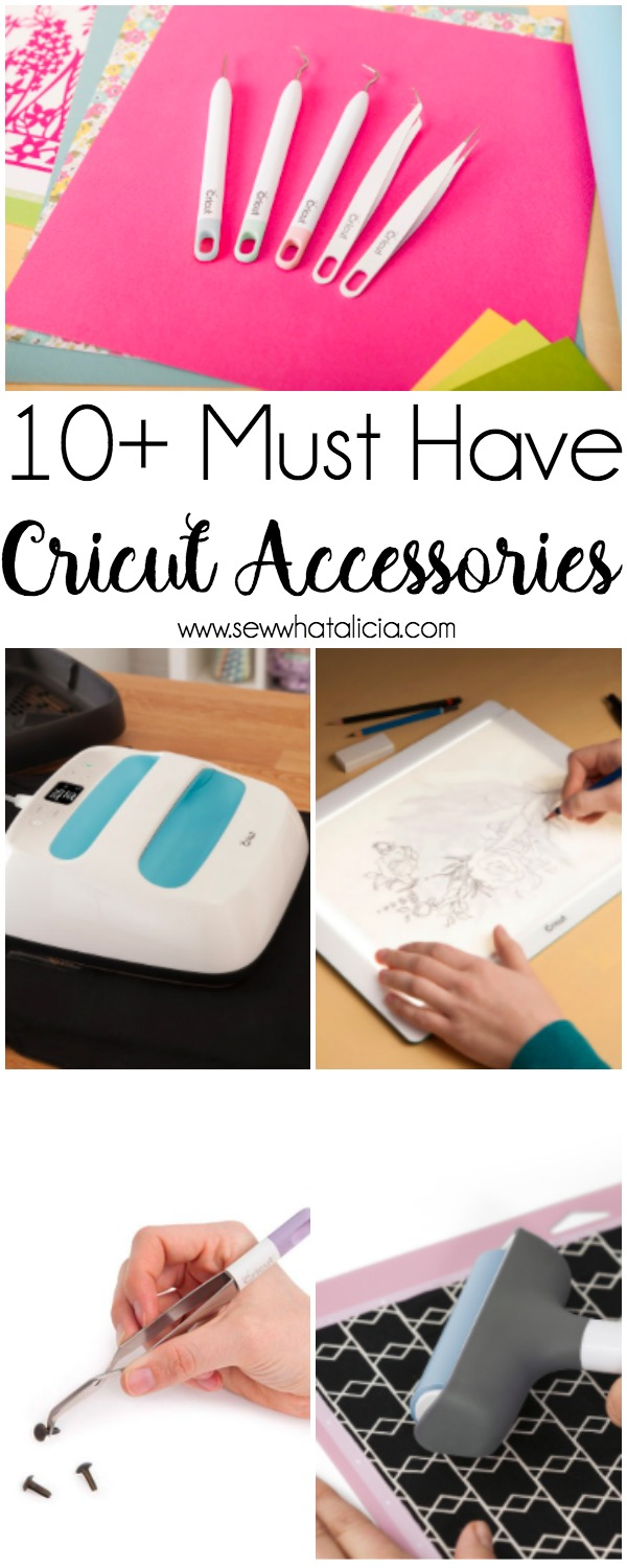 10+ Must Have Cricut Accessories: These accessories are perfect for pairing with your Cricut cutting machine. Click through for a full list of must have accessories. | www.sewwhatalicia.com