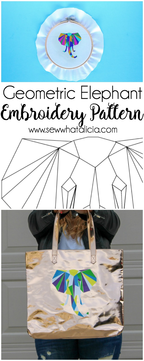Geometric Elephant SVG and Embroidery Pattern: This is a fun file that can be used so many ways. Click through for all the file info. | www.sewwhatalicia.com