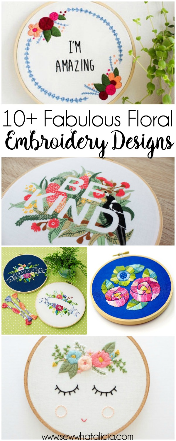 10+ Fabulous Floral Embroidery Designs: These embroidery designs are simply fabulous. Click through for a full list of beautiful patterns to hand embroidery today! | www.sewwhatalicia.com