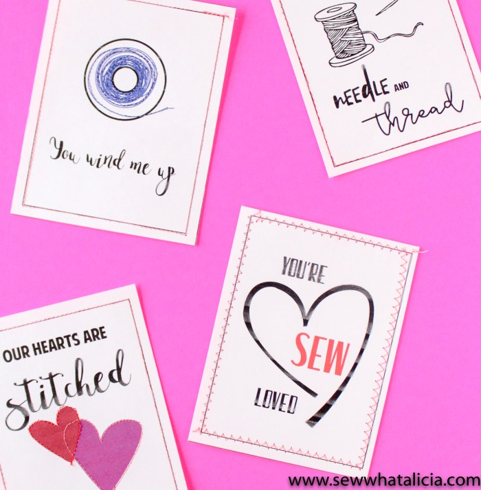 Print then Stitch Valentine's Day Cards: These cards are perfect for practicing stitching for brand new sewists. Learn to sew a straight line while creating some fun sewing themed cards. Click through for the free download and tutorial. | www.sewwhatalicia.com