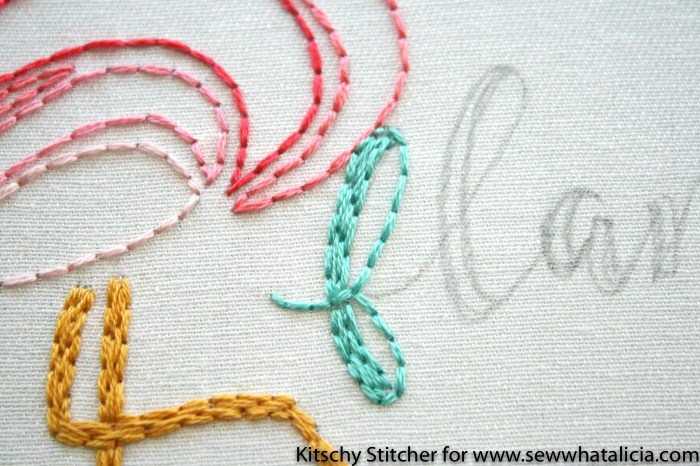 Embroidery How to with the Kitschy Stitcher: This is an amazing embroidery tutorial from the Kitschy Stitcher. Learn to make a cute flamingo pattern. Click through for the free pattern. | www.sewwhatalicia.com