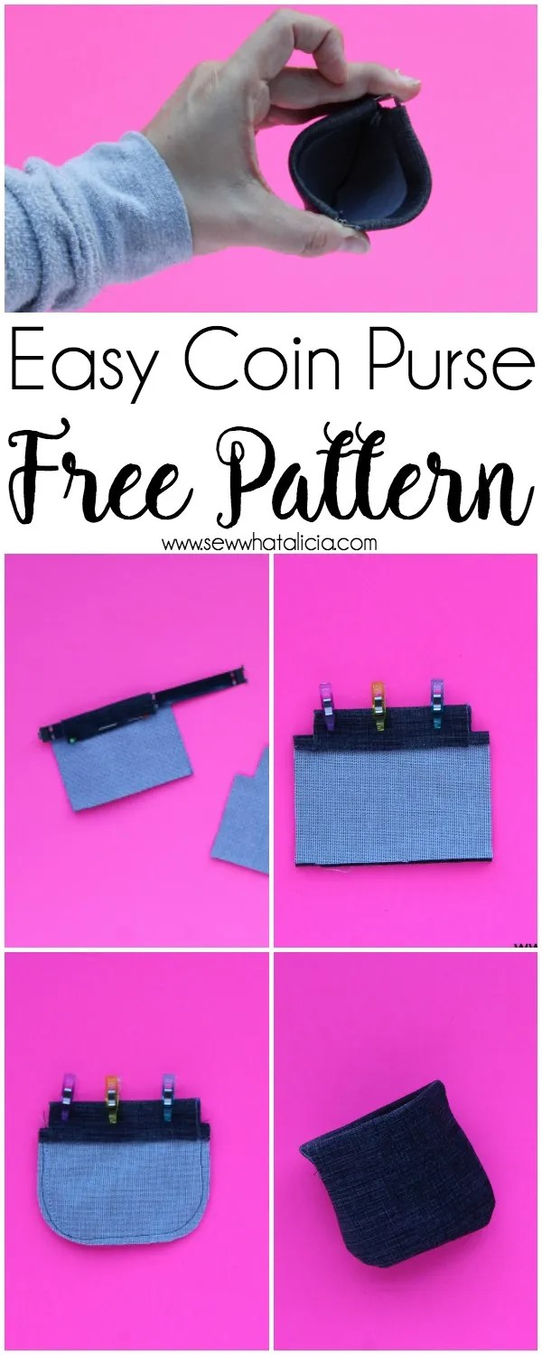 Free Coin Purse Pattern - SVG Cut File: This free cut file is perfect for using as a paper pattern or with your cutting machine to create this cute little coin purse. Click through for the full tutorial. | www.sewwhatalicia.com