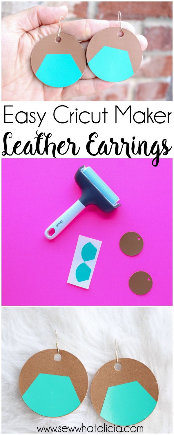 How to Make Leather Earrings with Cricut: These leather earrings are so quick and easy to make. Use the video tutorial to create your own design and then cut them with your Cricut Maker. Click through for the full tutorial. | www.sewwhatalicia.com