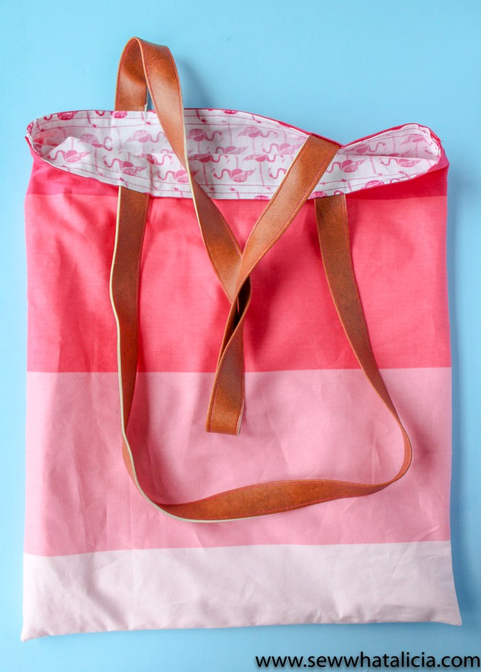 How to make a tote bag: Finished tote with two handles.