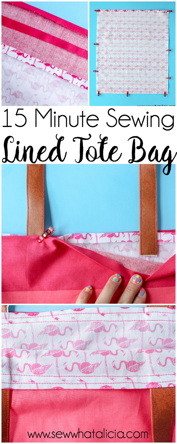 How to Make a Tote Bag: This installment of the 15 minute sewing series has us creating an easy lined tote bag. This is a great beginner sewing project. Newbies will learn to create an easy tote pattern. Click through for the full tutorial. | www.sewwwhatalicia.com