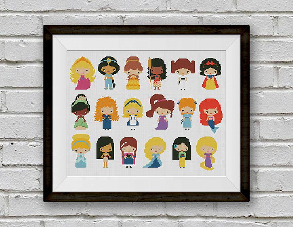 Princess Counted Cross Stitch Patterns: These cross stitch patterns are perfect for beginners and seasoned cross stitchers alike. Click through for a full list of patterns.   www.sewwhatalicia.com