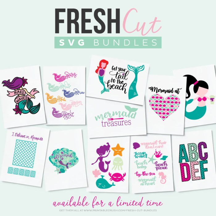 Mermaid SVG File: All the svgs files available in the fresh cuts mermaid bundle. | www.sewwhatalicia.com