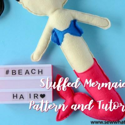 Felt Mermaid Pattern and Tutorial: Finished Mermaid with Beach Hair lightbox. | www.sewwhatalicia.com
