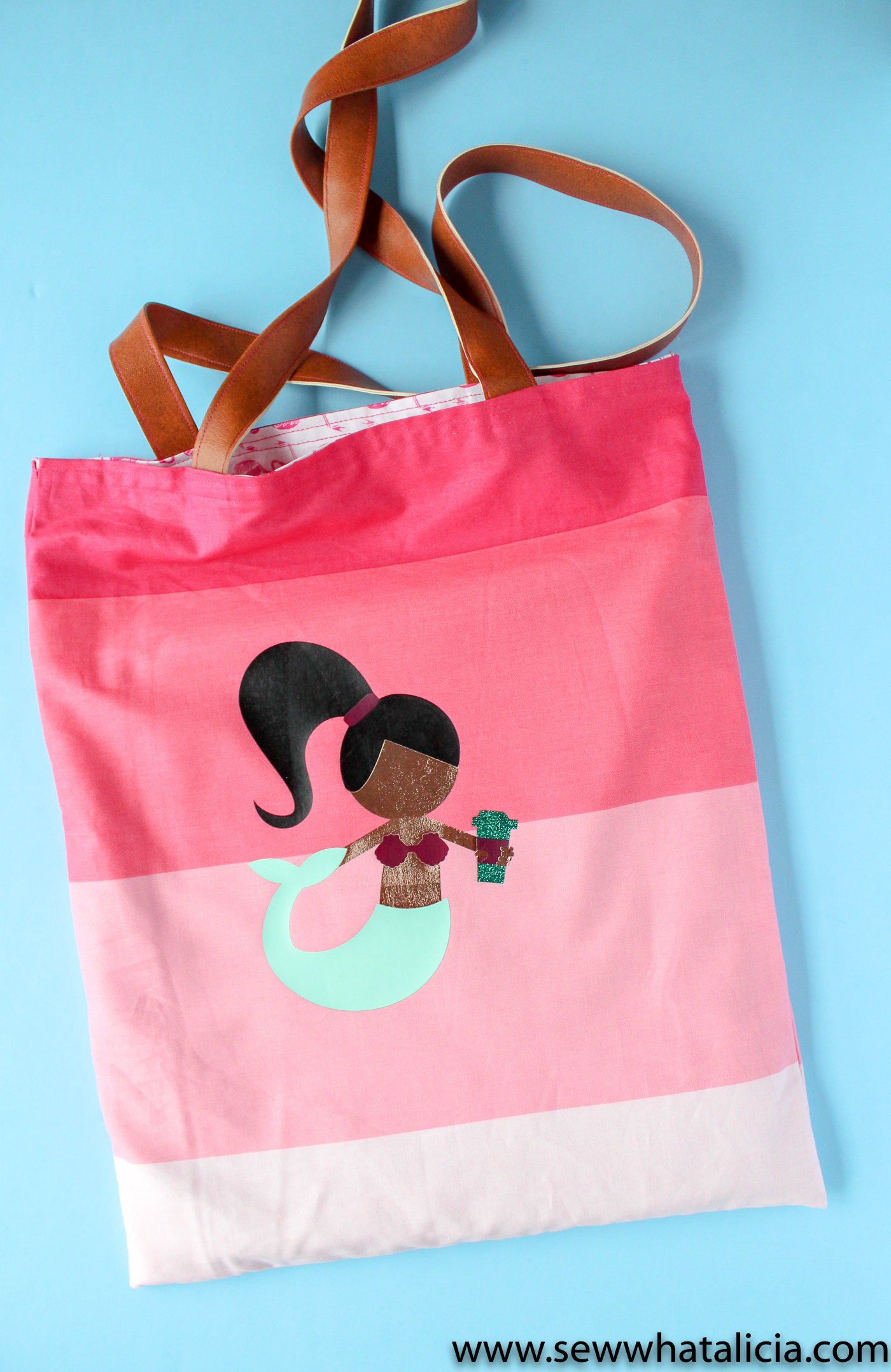 Mermaid SVG File: Finished tote with mermaid svg file ironed on. | www.sewwhatalicia.com