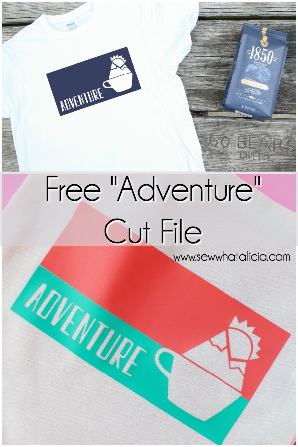 Free Adventure Coffee Cup SVG: This free cut file is perfect for adding to all of your craft blanks. Add it to a coffee cup or a t-shirt for the perfect gift. Click through for the free svg cut file.   www.sewwhatalicia.com