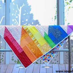 Scrappy Easy Rainbow Quilt Pattern Tutorial