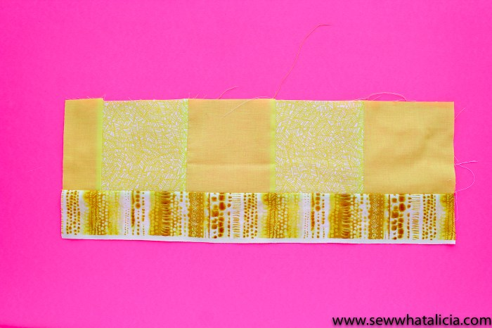 Scrappy Easy Rainbow Quilt Pattern and Tutorial: Pictured strips and squares of yellow pieced together to make a long yellow strip. | www.sewwhatalicia.com