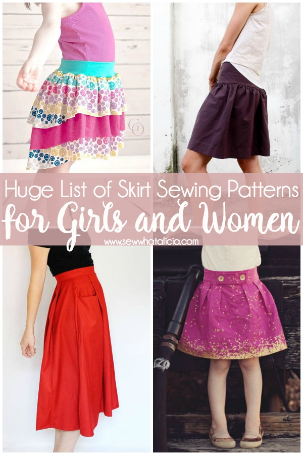 Skirt Sewing Patterns for Women and Girls: A huge list of skirt sewing patterns that are great for beginner sewing. Click through for the full list of amazing skirts for girls and women alike. | www.sewwhatalicia.com