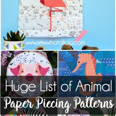 Paper Piecing Patterns - Awesome Animals: These animal paper piecing patterns are perfect for beginners. Beginner sewing patterns and easy paper piecing patterns that are sure to please! Click through for a huge list of animal paper piecing quilt block patterns. | www.sewwhatalicia.com