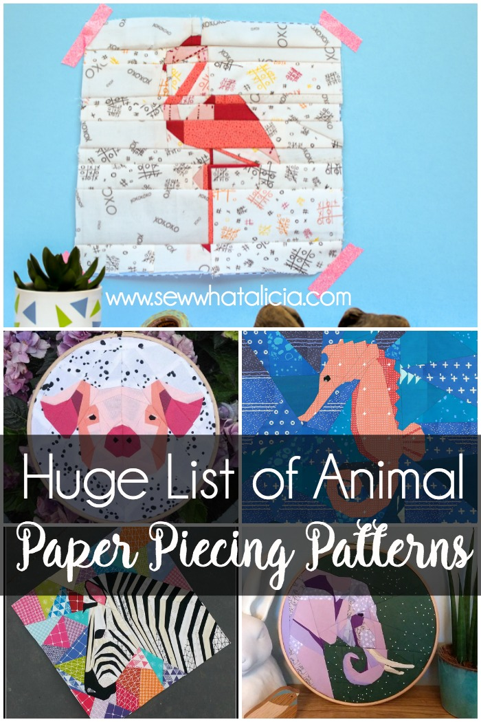 photo regarding Free Printable Paper Piecing Patterns for Quilting referred to as Paper Piecing Practices - Wonderful Pets! - Sew What, Alicia?