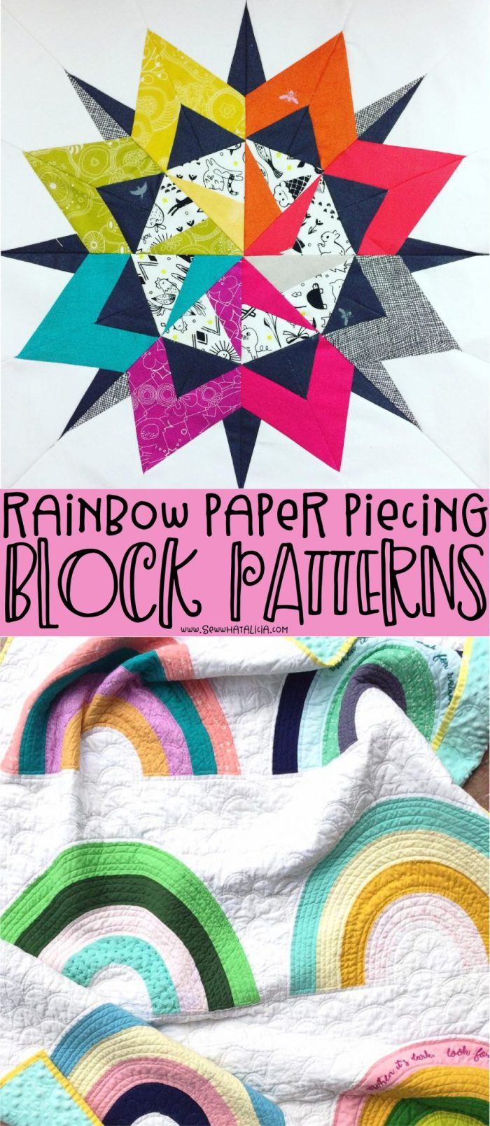 pictured colorful quilt blocks and verbiage reading rainbow paper piecing block patterns